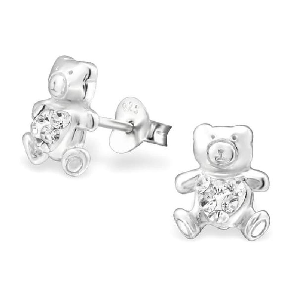 Childrens 925 Sterling Silver Bear Ear Studs with Crystal So Chic Jewels