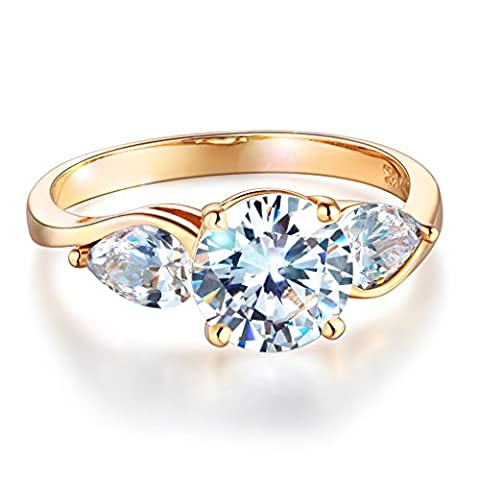 Wellingsale Ladies Solid 14k Yellow Gold Polished CZ Cubic Zirconia Round Cut Three 3 Stone Engagement Ring - Size - 3 Stone Four Prong Ring