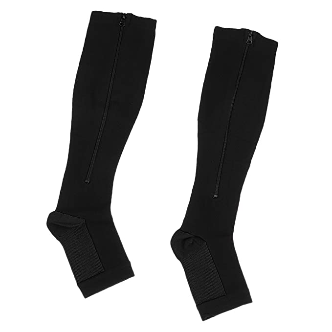 8345a7319d MagiDeal 1 Pair of Unisex Copper Compression Socks Calf Leg Foot Support  Open Toe Stockings S