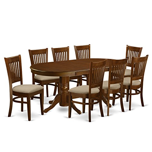 VANC9-ESP-C 9 Pc Dining room set for 8 Dining Table with Leaf and 8 Dining Chairs (Set Nine Room Dining Piece)