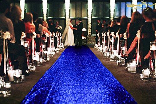 ShinyBeauty 4FTX15FT-Wedding Aisle Runner-Royal Blue,Glitter Carpert Runner,Sequin Aisles Floor Runner,Wedding Ceremony Decor, Sparkly Sequin Fabric Footcloth (Royal Blue)