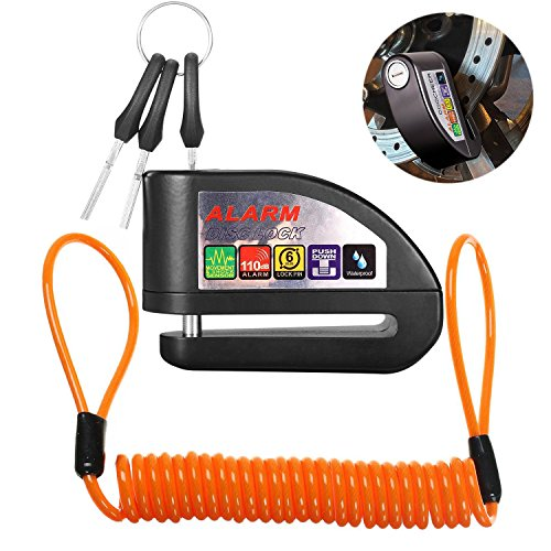 ILamourCar Disc Brake Lock,Alarm Disc Lock,Motorcycle Bike Anti-theft&Waterproof Brake Disc Wheel Alarm Security Lock,110dB Alarm Sound and 6mm Pin with 1.3m Reminder Cable for Motorcycles - Black by ILamourCar (Image #1)