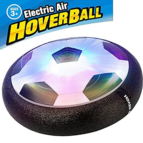AMENON Kids Air Power Soccer Football Size 4 Boys Girls Sport Children Toys Training Football Indoor Outdoor Disk Hover Ball Game with Foam Bumpers and Light Up LED - Power Air Hockey