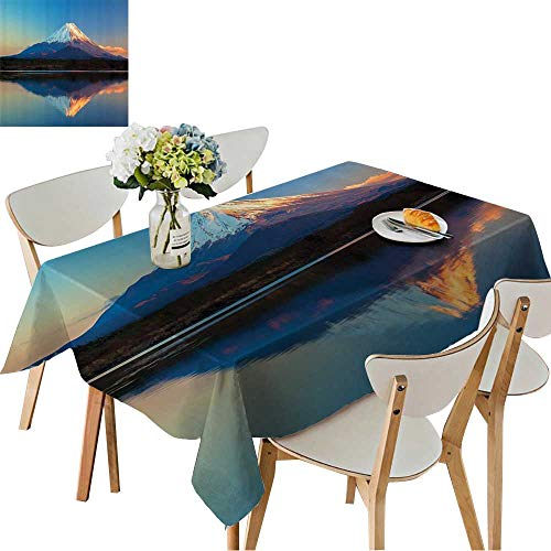 UHOO2018 Square/Rectangle Indoor and Outdoor Tablecloth llecti Mount Fuji and Lake Shoji Clear Sky Sun Restaurant Party,50 x102inch