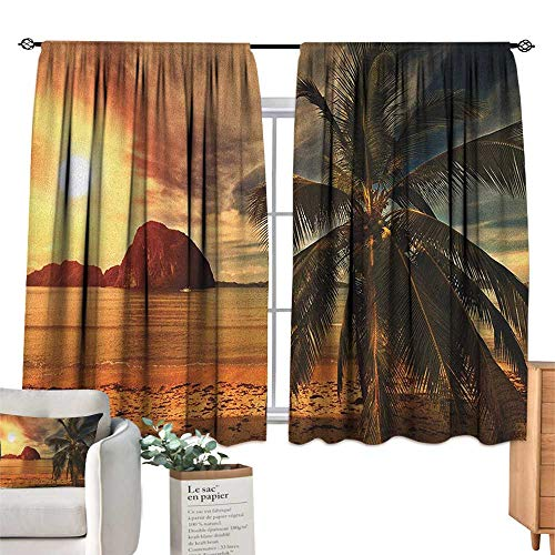 OceanSolid Rod Pocket short Blackout DrapesHavana Beach Sunny Tropics Mountains Rocks and Coconut Palm TreesDarkening Thermal Insulated Grommet Window Blackout Orange Pale Brown Dark Green. W63