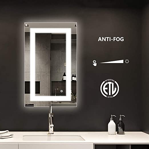 LED Backlit Make Up Mirror Vanity for Bathroom Dimmable w// Touch Button