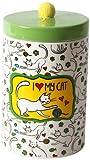DEI Ceramic Mr. Snugs Cat Collection Treat Jar, Green