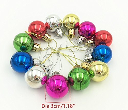 YYaaloa Exquisite 24pcs 3mm MINI Balls Ornaments for Christmas Tree Decor Decoration Ball Decorative Pendants Hanging Christmas Baubles Balls Ornaments Set with String (3cm/1.18inch 24pcs) Ball Mini Pendant