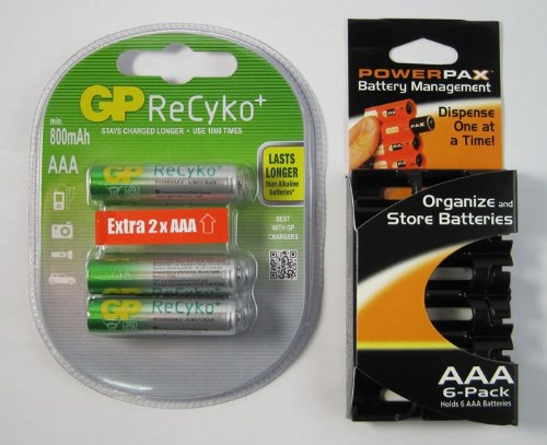 6 pack GP Recyko NEW AAA Ni-MH Pre-Charged Rechargeable Battery 800 mAh with Powerpax AAA 6 Pack Battery Caddy,Holds 6 AAA Batteries