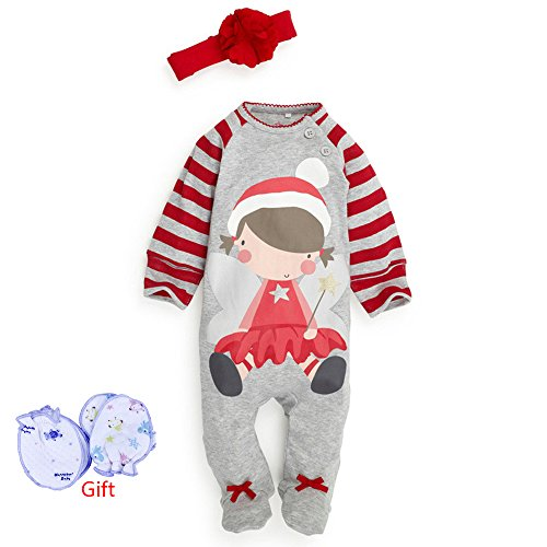 Baby Christmas Cloths Outfits Boy Girl Kids Romper Hat Cap Set Gift for 0-2y (3-6 months, girls)