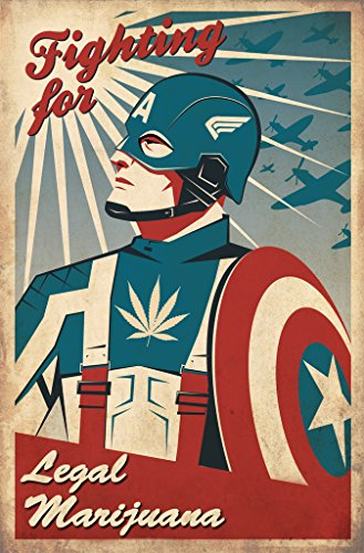 Legal Marijuana Captain America Wall Poster Print 12 X 18 In Poster Kcp10