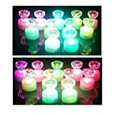 PINK PARI Crystal Diamond Shape Tealight Candle Diya Set Romantic Decoration Candle Light (Standard Size, Multicolour) -12 Pieces