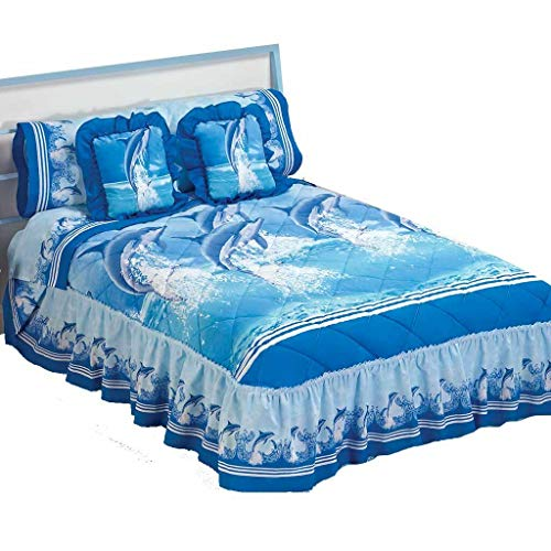 Blue Sea Dolphins Bedspread Sheets Bedding Set Queen