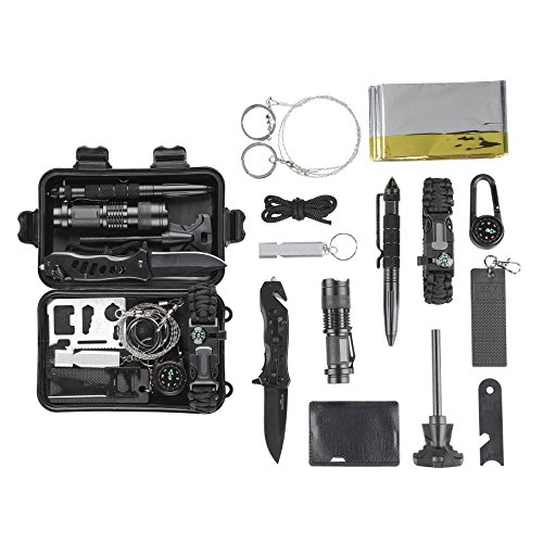 CO-Z Survival Kit for Emergency Camping Hiking, All In One Professional Little Outdoor Survival Gear Tool with Tactical Knife/Pen Fire Starter Flashlight Saber Card Compass for Kids Adventure Lovers