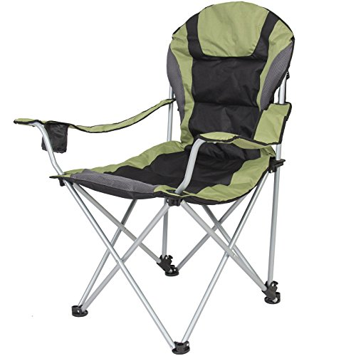 Rom Deluxe Padded Reclining Camping Fishing Beach Chair W...
