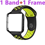 Fitbit Blaze Bands Large,HanLijie Silicone Replacement Sport Band with Black Frame for Fitbit Blaze Smart Fitness Watch (Black/Yellow)