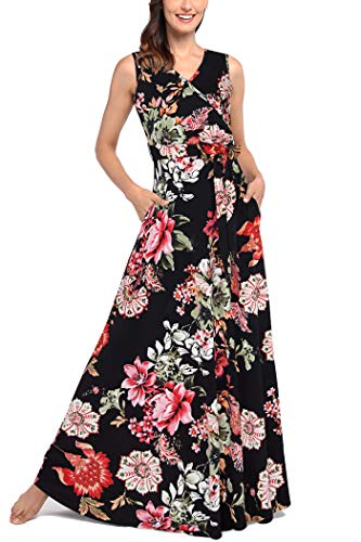 Floral Cocktail Party Dress - Comila Ladies Petite Long Dresses, Classic Flower Pattern Maxi Dress for Women Summer Floral Sleeveless Wrap V Casual Pockets Pretty Feminine Cocktail Party Dress Black Floral L US(12/14)