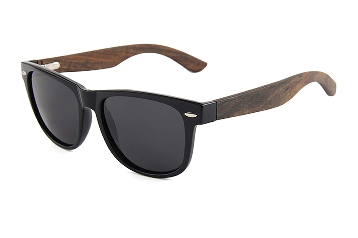 cfc74cdfed Amazon.com  Trek Woodwear Ebony Wood Wayfarer Sunglasses for Men or Women  with Polarized Lenses and Bonus Bamboo Case and Microfiber Pouch  Clothing