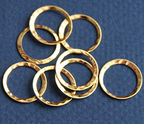 Bulk 100 pcs of Gold Plated Over Brass Hammered Circle Link 16mm