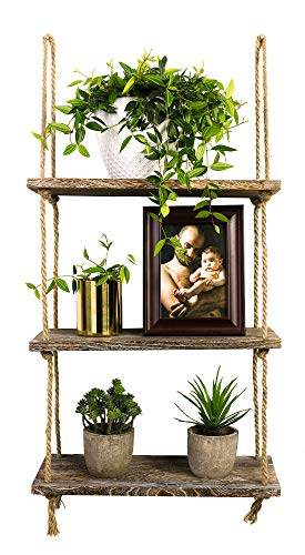 TIMEYARD Decorative Wall Hanging Shelf, 3 Tier Distressed Wood Jute Rope Floating Shelves, Rustic Home Wall - Shelf Geometric