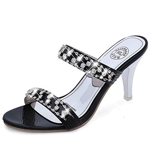 WHLShoes Sandalias y chanclas para mujer Las Mujeres Los Zapatos De Tacón De Moda De Verano Elegante Con Strass En La Palabra Wild Casual black