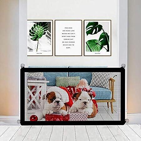 Nifogo Magic Pet Gate para Perros, Red de Seguridad para Mascotas para Interior, Puerta Mágica para Cualquier Lugar Pasillo Puerta Escalera Interior, Plegable y PortáTil, para Mascotas (110 x 72cm)