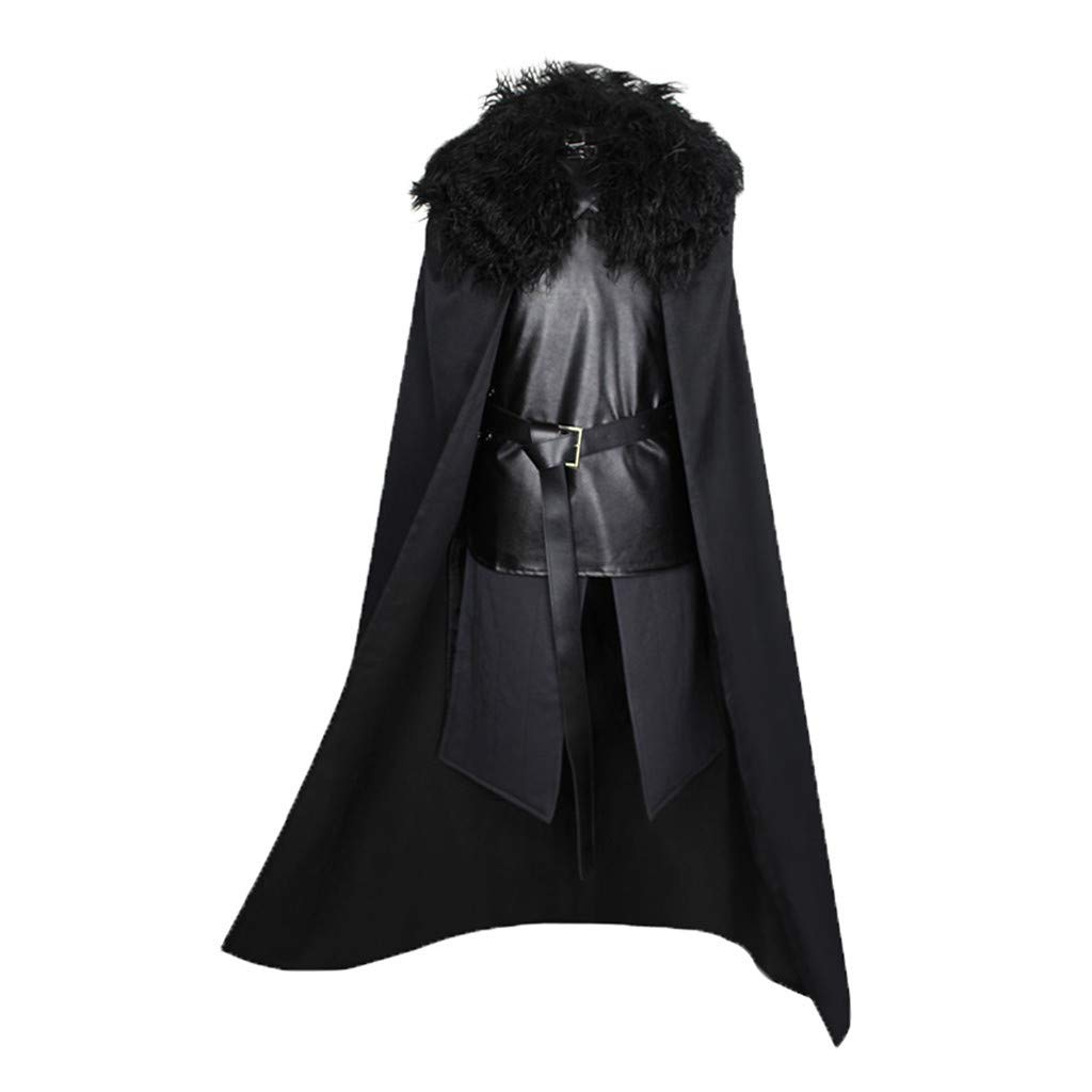 Faux Fur Cape Costume 4Pcs Sets, Mens Loak+Skirt+Tops+Belt Knight Winter Medieval Gothic Wool Fur Collar Vintage Coat by F_Gotal Mens blazer