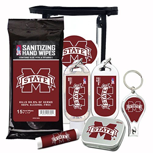 Mississippi State Bulldogs 6-Piece Fan Kit with Decorative Mint Tin, Nail Clippers, Hand Sanitizer, SPF 15 Lip Balm, SPF 30 Sunscreen, Sanitizer Wipes. NCAA Gifts for Men and Women