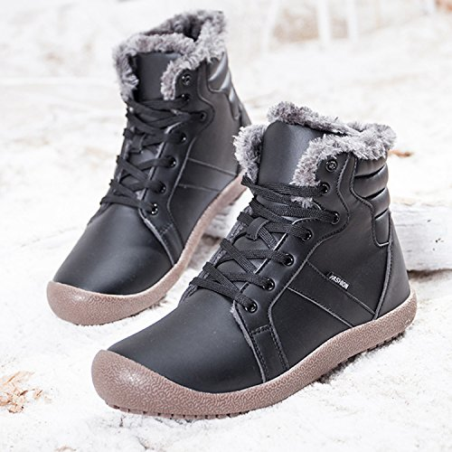 Waterproof Short Fur Winter Snow Ankle Shoes Boots Black JIASUQI Women's Wa6ycZRR4