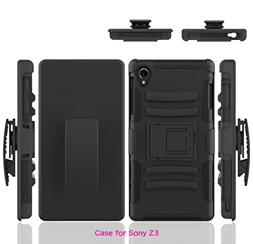 Sony Xperia Z3 Case, BONGEEK Dual Layer Armor Defender Protective Case Cover with Locking Belt Swivel Clip and Kickstand, for Sony Xperia Z3- Impact Resistant Bumper, Black/Black