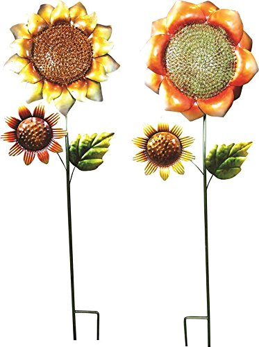 ALPINE CORPORATION LJJ106A Metal Sunflower Stake (Assorted 8), 37''