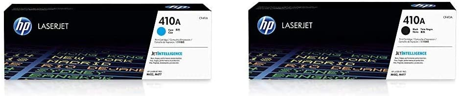 HP 410A | CF411A | Toner Cartridge | Cyan & CF410A Laserjet 410A Toner Cartridge, Black, Pack of 1