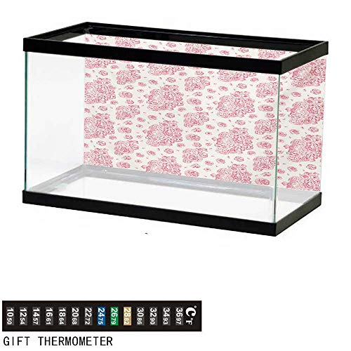 wwwhsl Aquarium Background,Coral,Peonies English Roses Victorian Bouquet Corsage Blossoms Flourish,Pale Pink Dark Coral White Fish Tank Backdrop 72