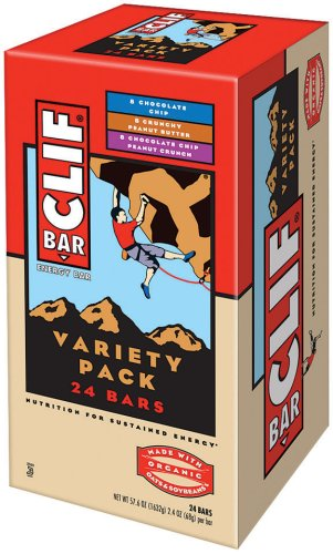 Clif Bar Energy Bar, Variety Pack, Chocolate Chip, Crunchy Peanut Butter, Chocolate Chip Peanut Crunch, 2.4-Ounce Bars, 24 Count ()