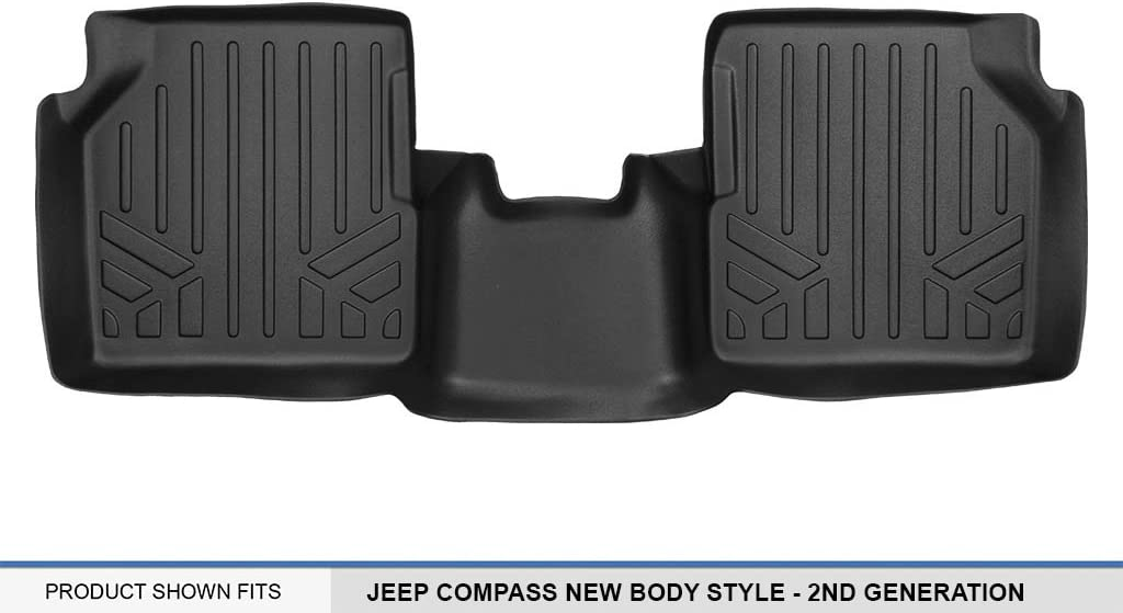 New Body Style Only MAXLINER Floor Mats 2nd Row Liner Black for 2017-2018 Jeep Compass with 1st Row Dual Driver Side Floor Hooks