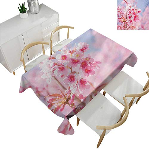 Floral,Tablecloth Factory,Sakura Blossom Branches Flower Essence Fragrance Nature Inspired Picture,Waterproof Table Cover for Kitchen 60