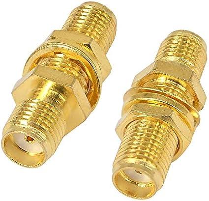 BOOBRIE SMA - Conector coaxial SMA hembra a hembra, adaptador de antena extensible para antenas y dispositivos LAN inalámbricos, cable coaxial, 2 ...