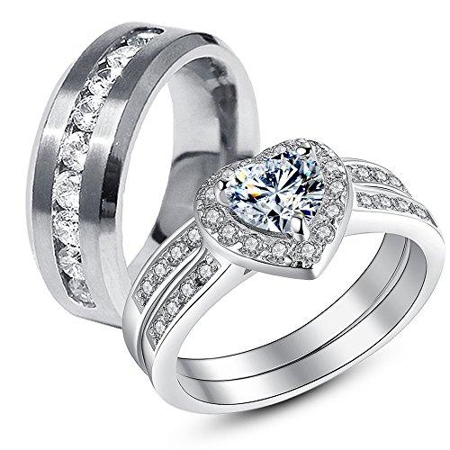 Stainless Womens Wedding Engagement Matching