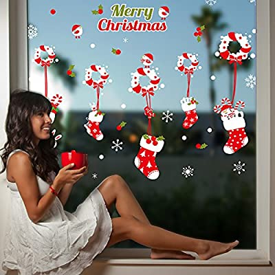 "SWORNA Holiday Series SN-54 Merry Christmas Santa Wreath Stocking Snowflake Removable Vinyl DIY Wall Mural Decal Sticker for Retail Store/Coffee House/Restaurant/Supermarket Window/Door 53""H X 70""W"
