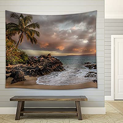 Tropical Seascape with Palmtree and Clear Sea Fabric Wall Medium