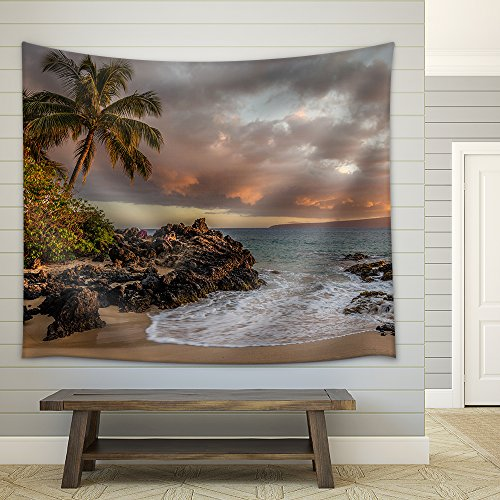 Tropical Seascape with Palmtree and Clear Sea Fabric Wall