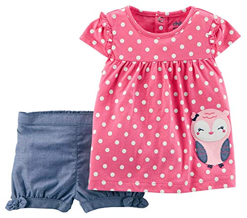 Carter's Child of Mine Owl Baby Girl 2 Piece Top and Shorts Outfit Set (3-6 Months)