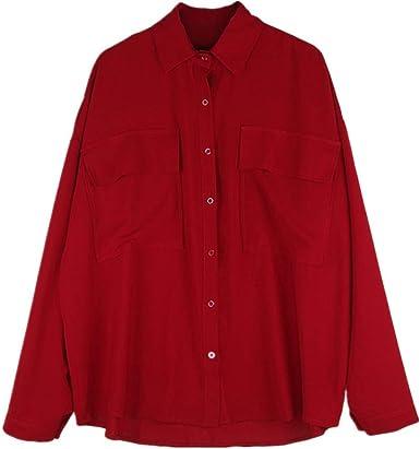 NOBRAND Camisa suelta roja grande para mujer, diseño de la ...