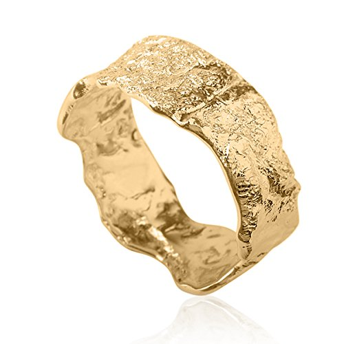 Unique Modern Asymmetrical Classic Rough Wedding Ring Band 14k Yellow - Band Wedding Carved Finished