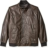 Calvin Klein Men's Big Faux Leather Bomber, Heritage Brown, Large/Tall