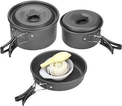 Portable Camping Cookware Outdoor Picnic Tableware Pot Pan Cooking Equipment Set