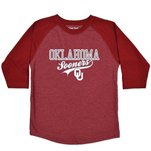 NCAA Oklahoma Sooners Youth Home Run Raglan Tee, Size 10-12/Medium, Red