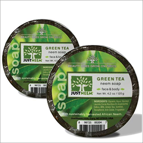 Neem Soap - 2 Pack - Green Tea - Face & Body - Glycerin, Coconut Oil, Green Tea & Vitamin E - Relieves Dryness, Maintains Healthy Skin - 4.2oz