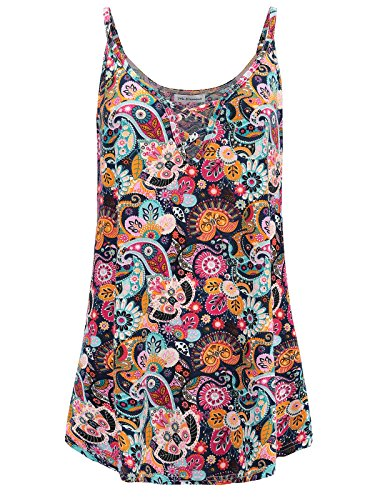 7th Element Womens Plus Size Tank Tops V Neck Cami Camisole Sleeveless Summer Shirt Top (Floral Print - - Element Cotton Tank Top