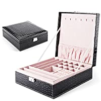 MESHA Stackable Jewelry Organizer Trays 18 Slot Muti-use Jewelry Storage Holder Leather Display Case for Drawer or Dresser Set of 4